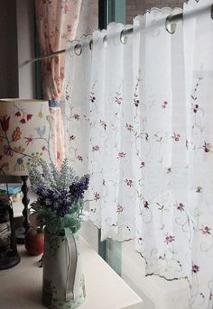 very pure and lovely Rose Vines, Kitchen Window Treatments, Cafe Curtains, Rose Embroidery, Window Coverings, Valance, Pink Roses, Shabby Chic, Pure Products