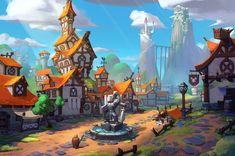 Small Town by Shen Yang Game Environment, Environment Concept Art, Environment Design, Fantasy House, Fantasy World, Fantasy Art, Fantasy Landscape, Landscape Art, Fantasy Places