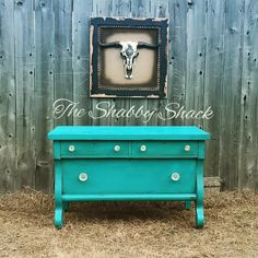 Painted in the color Sail Away by Vintiques Paint through Heirloom Traditions. Sealed in Best Chalk Top Coat by Heirloom Traditions. www.facebook.com/theshabbyshack20 #empirefurniture #chalkpaint #heirloomtraditions