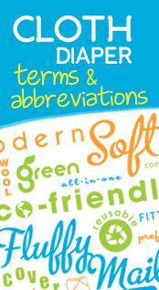 Cloth Diaper Terms and Abbreviations