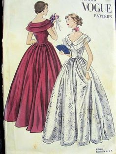 Vintage Vogue 3265 Evening Dress Formal Gown Sewing Pattern Deep V Neck Rolled Collar Size 11 Bust by vintagepatternstore on Etsy Vintage Vogue, Vintage Fashion, Evening Dress Patterns, Vintage Dress Patterns, Formal Evening Dresses, Evening Gowns, Dress Formal, Vintage Outfits, Vintage Dresses