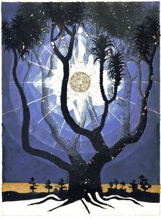 [The Tree of Life is a man reaching toward the Light, the Source? However, this Tree of Life is dark- unable to reach the Source, which is blocked by X over the Four Pillars of God?] Jung's Red Book - 83