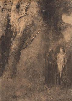 """ODILON REDON (1840-1916) Personnages dans la forêt ou Entretien mystique signé[...], mis en vente lors de la vente """"Dessins Anciens et Modernes"""" à Leclere - Maison de Ventes   Auction.fr"""