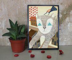 Die fliegende Katze und das Mädchen von Irina Mmurs Things auf DaWanda.com