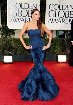 Sofia Vergara tapped into her bombshell image for the 2012 Golden Globes, showing off her figure in a textured mermaid gown by Vera Wang. She paired the navy blue gown with sleek and straight tresses and plenty of diamonds.