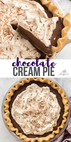 This Chocolate Cream Pie is luscious, rich and chocolatey -- made from scratch with a chocolate pudding filling and a flaky pie crust, topped with homemade whipped cream! #chocolate #pie #dessert #recipes | chocolate dessert | chocolate recipe | pie recipes | easy dessert recipes | Easy Pie Recipes, Bakery Recipes, Tart Recipes, Best Dessert Recipes, Sweet Recipes, Chocolate Cream, Chocolate Pudding, Chocolate Desserts, Chocolate Lovers
