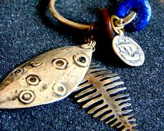 Stunning Silver lapis and amber keychain-Sterling silver fish keychain-Skeleton fish keychain-Unique artisan gifts-Unusual accessories by ArchipelagosBreeze on Etsy