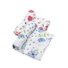be97fc159de3 Little Unicorn Organic Cotton Muslin Swaddle 2 Pack - Summer Poppy Set