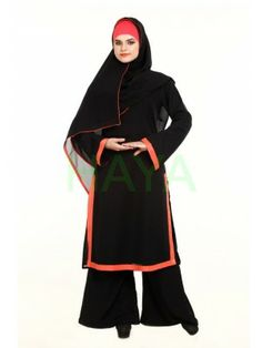 Rust taping applique adds pizzaz to this elegant and easy cared georgette long tunic. Buy for Price: $38.00 @ www.hayaislamicclothing.com/Islamic-Clothing-New-Arrivals/tunics-203-lts