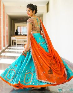 SHOP - Frugal2Fab Dress Indian Style, Indian Dresses, Indian Outfits, Choli Designs, Blouse Designs, Indian Engagement Outfit, Orange Lehenga, Chanya Choli, Navratri Dress