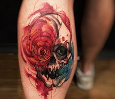 Watercolor Skull tattoo by Felipe Rodrigues