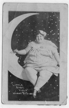 """Fat Lady """"Little Baby Viola"""" sits on paper moon RPPC. Moon Photos, Moon Pictures, Vintage Moon, Vintage Paper, Vintage Photographs, Vintage Images, Satan, Vintage Magazine, Shoot The Moon"""