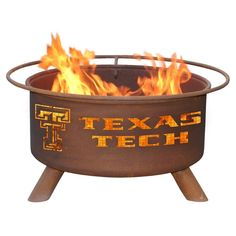 Patina Products - F233 Texas Tech University, Texas Tech Red Raiders Fire Pit, Natural Patina Rust Finish