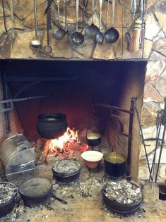 large open hearth cook fireplace - Google Search