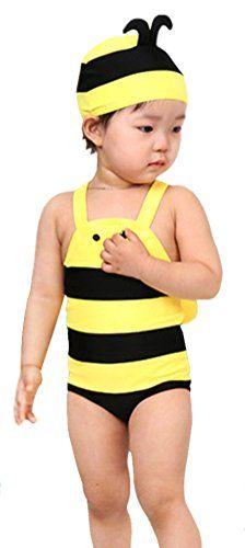 2f7e36b66675f Amazon.com: Unisex Kids One Piece Honey Bees Swimsuit with Swimcap Yellow  L: Clothing