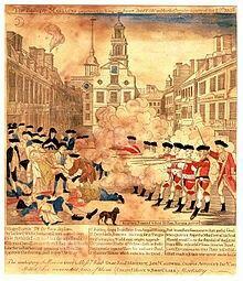 Masakra Bostońska 1770,. Zamieszki w Bostonie przyczyniły się do wybuchu Rewolucji Amerykańskiej.