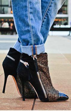 pinterest.com/fra411 #shoes #heels Jean-Michel Cazabat tweed ankle boots