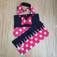 Tote Bag and Crayon Roll  White Polka Dots on Red by Sewing4Babies