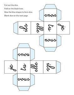 French pronouns dice. Can make into a verb conjugation game or have students roll and battle to point first to correct amount/gender, could be done in a circle or in front of class