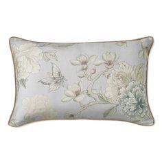 AERIN Wild Rose Linen Lumbar Pillow Cover, Dove Blue #williamssonoma