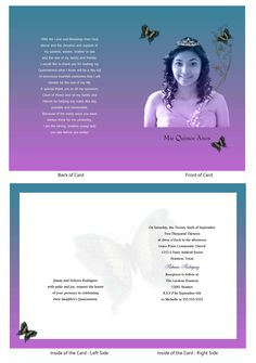 "Quinceanera Card 34...this is a 5"" x 7"" open-close booklet style invitation."