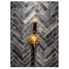 Gray Chevron tile with Brass shower Valves #beautiful #tiles #brass #designporn #designdaily #designinspiration #designanddecoration #houzz #Pinterest