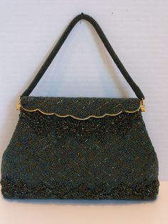 Vintage Green Beaded Bag Handbag Purse Mint