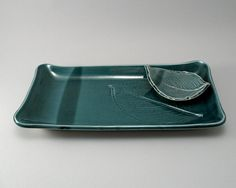 Serving Platter-Pottery Platter-Leaf Plate-Leaf Dipping Dish-Peacock Gloss Glaze-Stoneware-Ceramic Serving Tray-Teal-Ready to Ship