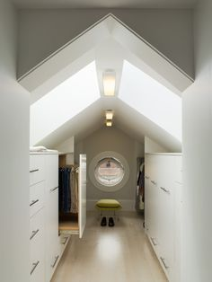 modern attic closet w/pull out storage