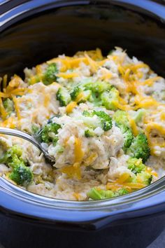 Best Ever Cheesy Slow Cooker Chicken Broccoli and Rice Casserole! Only 10 minutes prep time!
