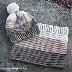 Minus the pompon - Carlyle Slouch Hat & Cowl Crochet Pattern Set Col Crochet, Crochet Cowl Free Pattern, Crochet Beanie, Crochet Baby, Free Crochet, Knitted Hats, Knitting Patterns, Crochet Patterns, Cowl Patterns