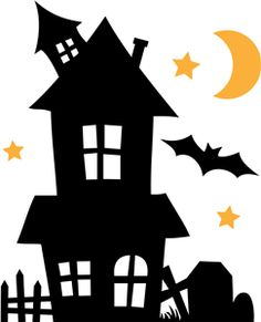 Haunted house pattern for Halloween. Use the printable outline for ...