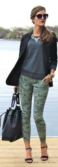 2014 Trend Camo - Camo Skinny Pants, Black Strappy Sandals, Sweatshirt, Blazer, Statement Necklace, Boyfriend watch, Black Bag