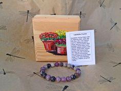 Hand Painted Box and Sugilite Crystal Healing Bracelet  REIKI Energy Gemstone Gift Set Lepidolite - pinned by pin4etsy.com