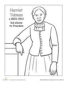 Black History Month coloring book page of African American