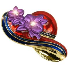 Trademark Red Hat Society Lapel Pin ($10) ❤ liked on Polyvore featuring jewelry, brooches, multi, floral brooch, trademark jewelry, red charms, pin brooch and charm jewelry