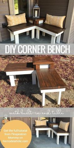 Best Country Decor Ideas for Your Porch - DIY Corner Bench With Built In Table - Rustic Farmhouse Decor Tutorials and Easy Vintage Shabby Chic Home Decor for Kitchen, Living Room and Bathroom - Creative Country Crafts, Furniture, Patio Decor and Rustic Wall Art and Accessories to Make and Sell http://diyjoy.com/country-decor-ideas-porchs #shabbychickitchentable #shabbychichomeaccessories #shabbychichomesaccessories #livingroomfurnituretabledecoratingideas #countryfurniture #shabbychicdiywall