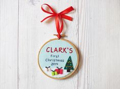 Personalized Baby's First Christmas ornament, Christmas tree decor, Christmas Embroidery hoop keepsake, holiday decor, custom baby gift by buligaia on Etsy https://www.etsy.com/listing/195526937/personalized-babys-first-christmas