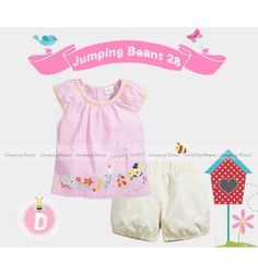 Baju bayi anak branded import Jumping Beans 28 D Tunic Set - Strippy Garden