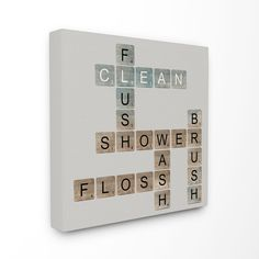Stupell Scrabble Bathroom Illustration Stretched Canvas Wall Art (24x24)