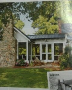 Screen porch, fireplace and dark metal roof