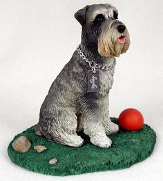 Dog Figurine - Schnauzer Gray with Uncropped Ears - My Dog