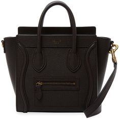 Luggage Nano Leather Satchel ❤ liked on Polyvore featuring bags, handbags, sac, pocket purse, genuine leather purse, strap purse, leather bags and 100 leather handbags