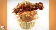 Chicken Wing Cupcake! Corn bread base, blue cheese frosting and a chicken wing. Perfect party food?