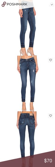 Tularosa   High waist Jean Size 26 but fit like a size 25. Very cute high waist, dark wash with whiskering throughout and an undone hem! Worn a handful of times. High quality denim. Tularosa Jeans Skinny