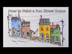 How to paint a Fun Street Scene Line and Wash Watercolor. Peter Sheeler - YouTube