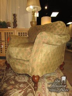 """Drexel Heritage accent chair in a light patterned upholstery. Quite a comfortable chair. 39""""wide x 39""""deep x 33""""high. Perfect fit for traditional style home!"""