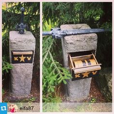 Cool #geocache in Finland.  But you don't have to be King Arthur to do it.  :)  Pull out the sword and it releases the drawer to open. For a hide like this, make sure you follow the example of this cache owner and get permission from the property owner.