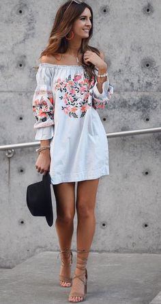 Embroidered off the shoulderdress in pale blue, little black fedora, strappy sandals- so cute!