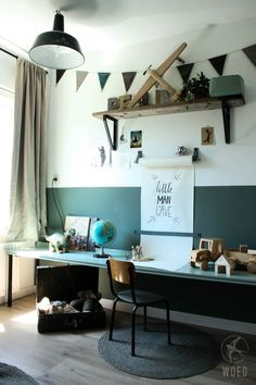 Trendy bedroom industrial small home office Ideas
